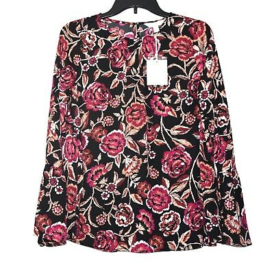 AGLOW Bell Sleeve Blouse Top Womens M Mat or Flowy Floral Black Pink White Beige