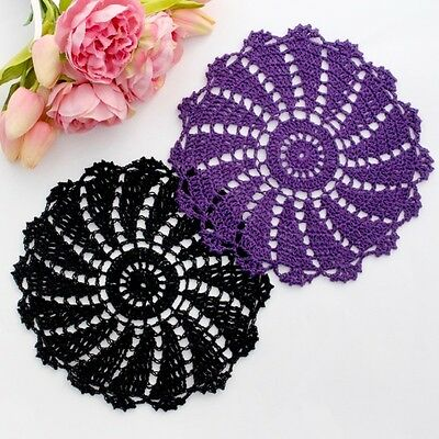 Crochet doilies black and dark purple 19-21 cm for millinery and crafts