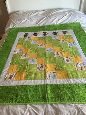 "Handmade patchwork quilt 'little Bears And Animals'  Size 47"" X  51"" Length"