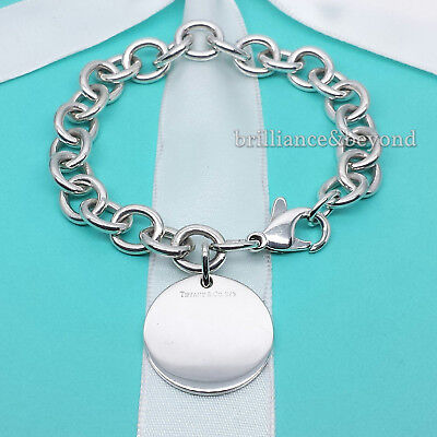 Tiffany & Co. Round Tag Charm Bracelet 925 Sterling Silver Authentic