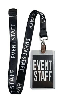 Event Staff lanyard with clear badge holder and party pass, Great for any event