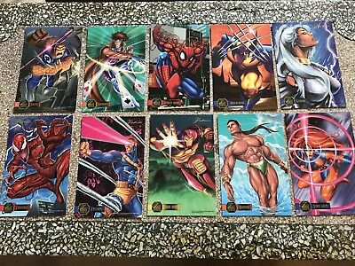 Full Set 10 Large Marvel Annual Flair Prints Trading Cards-'95-Spiderman+26x19cm