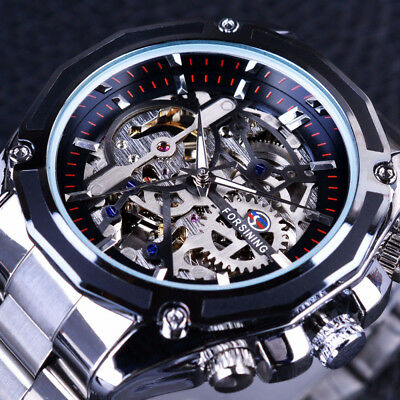 Mechanical Steampunk Skeleton Steel Men Automatic Watches Wristwatch Stainless