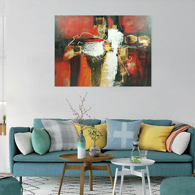 Modern Hand Painted Art Oil Painting Stretched Canvas Abstract Home Decor Framed