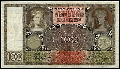 NETHERLANDS 100 GULDEN 1941  PICK # 51b VF+/aXF  COMPLETELY WATERMARK RARE NOTE