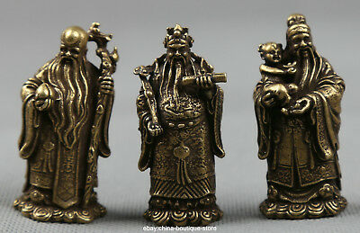 Small Curio Chinese Bronze Taoism 3 Longevity God Fu Lu Shou Life Wealth Statue