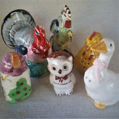 Vintage Ceramic Salt and Pepper Shakers ANIMALS Rooster TURKEY Bird JAPAN