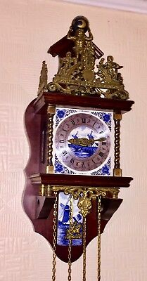 Zaanse Clock Dutch Blue & White Tiles Vintage 1970 Brass Weights Pendulum Bell