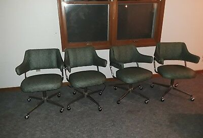 Set of 4 Vtg Mid Century Chrome & Green Vinyl Swivel Kitchen Chairs Chromcraft?