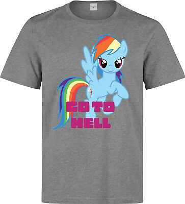 Go to Hell Rainbow Dash My Little Pony Art men (woman's available) t shirt grey