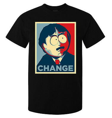 South Park Randy Marsh Change Election Obama Style men's top t shirt black