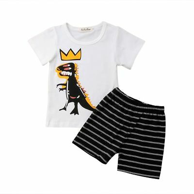 Cartoon Casual Baby Kids Children Boys Cute Summer Short Sleeve Clothings Outfit