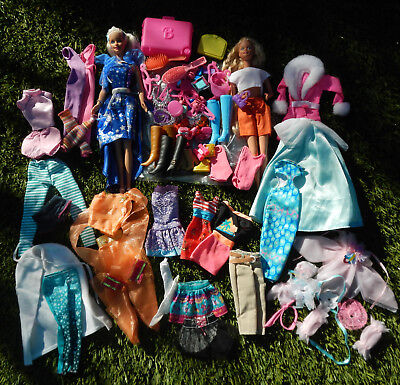 Mixed Barbie Doll Lot Clothes, Shoes, Accessories & 2 x Dolls