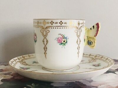 Royal Worcester Butterfly Handle Cup And Saucer