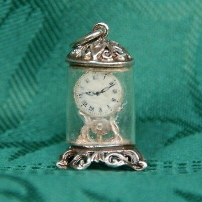 Vintage Solid Silver Charm / Pendant of an ornate Carriage Clock 1960s/70s