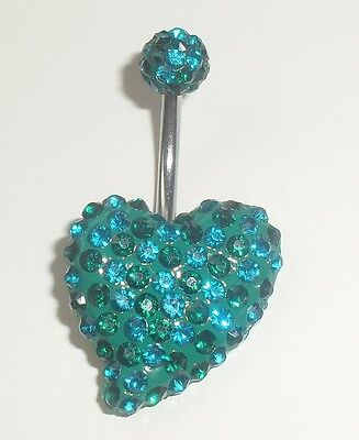 A Sparkling Green And Blue Gem Set Heart Shaped Belly Bar