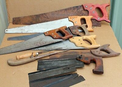 Lot of 9 vintage collectable hand panel saws