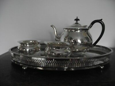 Three Piece 'yeoman Plate' Tea Service And  Epns Silver Plate Oval Gallery Tray.