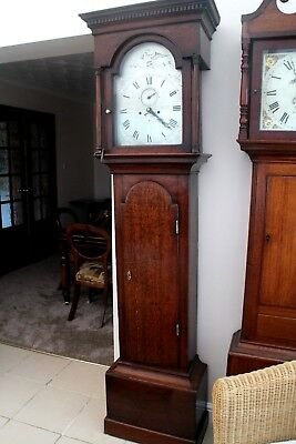 longcase clock George oak case silver dial signed Rich Garland Plymouth 1822