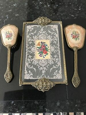 Antique Petit Point Vanity Tray With Mirror & Brush