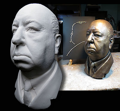 Alfred Hitchcock Life Mask Bust Sculpture From Original Vintage Lifecast Vertigo