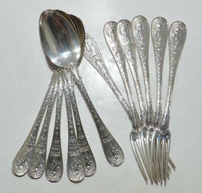 Pierre Queille Antique French Sterling Silver Empire Josephine Flatware Set
