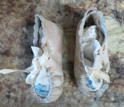 Vintage White W/ Blue Flower  Baby Infant Booties Leather Free Shipping