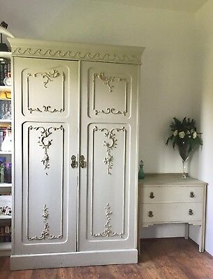 Vintage Wardrobe With Ornate Detail Large Antique Victorian Armoire