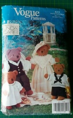 Vintage Vogue Teddy Bear Family & Clothes sewing patterns Part Cut Linda Carr