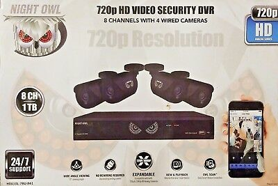NIGHT OWL 720p Video Security DVR HDA10L-7BU-841 NIB 8 Channels 4 wired cameras
