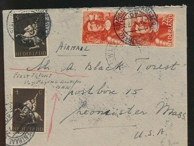 LJ39956 Netherlands 1946 New York first flight airmail cover used