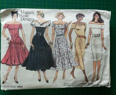 UNCUT Vintage VOGUE sewing pattern No 1899 DRESS 5 Designs Size 12 14 16