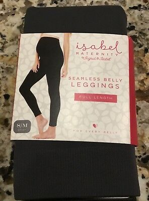 Ingrid & Isabel Maternity Seamless Belly Leggings Full Length in Gray S/M...NWT