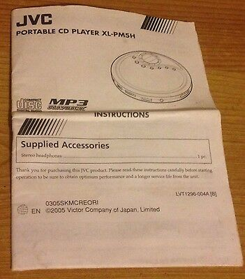 INSTRUCTIONS Owner's MANUAL Start User Guide For JVC Portable CD Player XL-PM5H