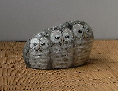 Hand painted quirky pebble ornament, row of 3 baby owls.  Bird paperweight.