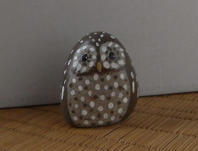Hand painted quirky owl ornament. Pebble art, bird paperweight.