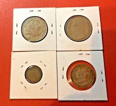 Lot of four!!! Thailand King 5 Baht, one Baht, Satang, 1977 and more World Coin