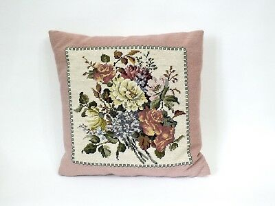 VINTAGE Pink Floral  Spray Beautiful Embroidered Needlepoint Tapestry CUSHION