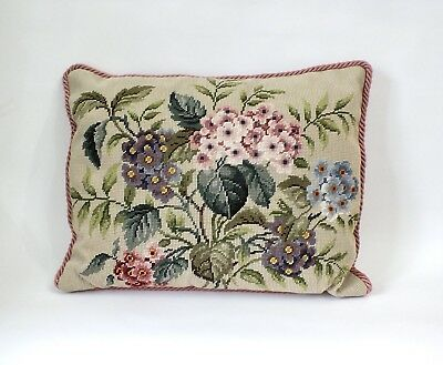VINTAGE Flowers Floral Beautiful Embroidered Needlepoint Tapestry CUSHION