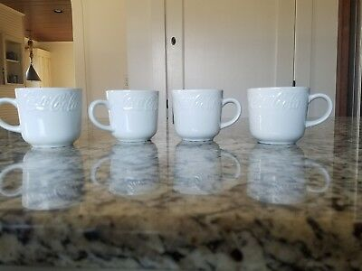 Vintage Coca~Cola White Coffee Cups Gibson Set of 4