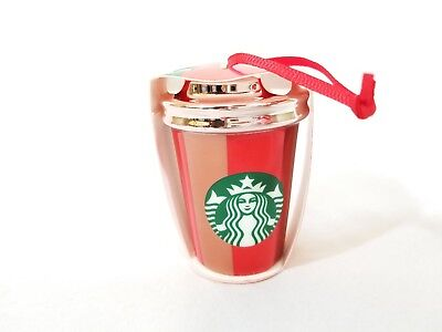 🔥 NEW Starbucks 2018 Christmas Holiday Ceramic Ornament Rose Gold Red Stripe