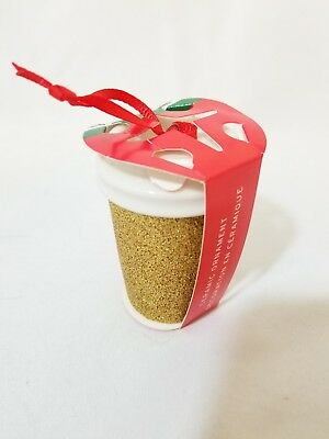 🔥 NEW Starbucks 2018 Christmas Holiday Ceramic Ornament GOLD Glitter Cup