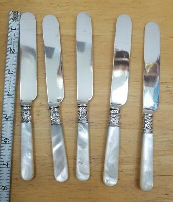 Lot Of 5 Vintage - Antique Mother Of Pearl Handle Silverplate Blade Table Knives