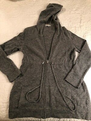 A PEA IN THE POD Women's MATERNITY Gray Wool Sweater Zip-up Hoodie, Size Medium