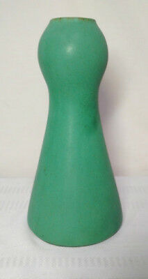 """TECO POTTERY, LARGE MATTE GREEN VASE, POPPY BUD FORM, 9 3/8"""" TALL w CHARCOALING~"""