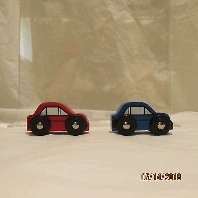 Wooden Car Toys Red and Blue