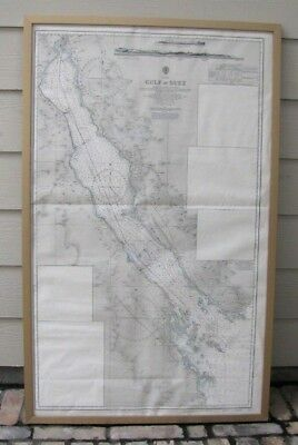 Vintage Admiralty Chart #757 ~ GULF of SUEZ ~1953 Edition w/Corrections to 1975