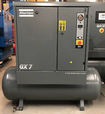 Atlas Copco GX7 Receiver Mounted Rotary Screw Compressor, 7.5Kw, 33cfm, 270Ltr!