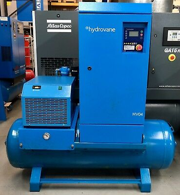 Hydrovane HV04 Receiver Mounted Rotary Vane Compressor With Dryer! Low Hours!