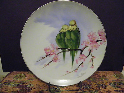Vintage hand painted plate w/ green Birds/Budgies/parakeets cherry blossoms